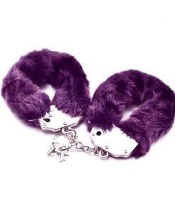 Fetish Pleasure Fluffy Hand Cuffs Purple