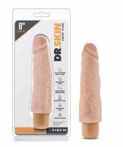 Dr Skin Cock Vibe 14 8in Vibrating Cock Beige