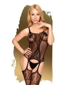Miss Curvy Net Bodystocking w Lace Detail